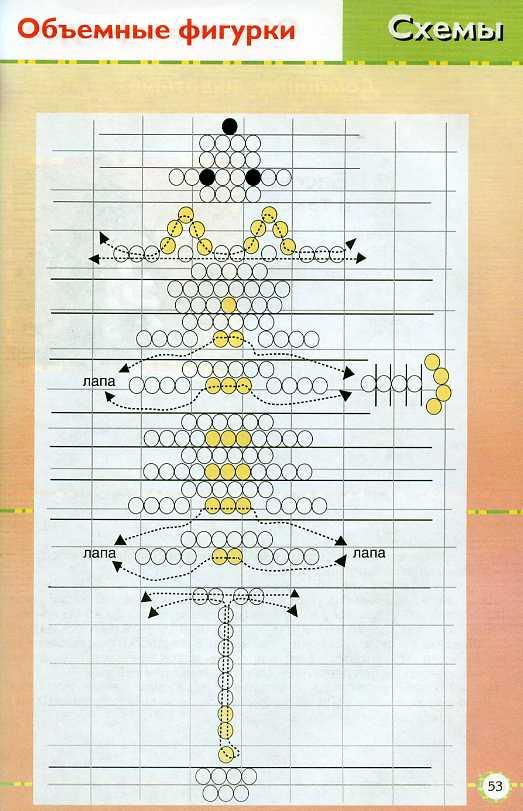 Как сделать из бисера кота схема для начинающих